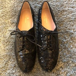 Kate Spade Black Sequin Oxford. Size 9.